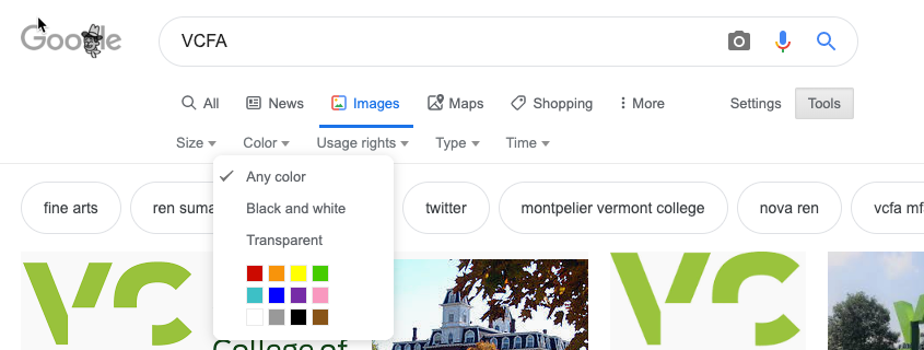 google filter size